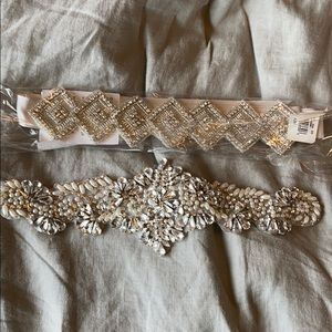 2 bridal sashes , 1 with ribbon attached